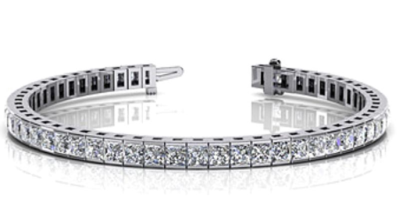 Picture of Classic Bezel Set Princess Cut Diamond Tennis Bracelet