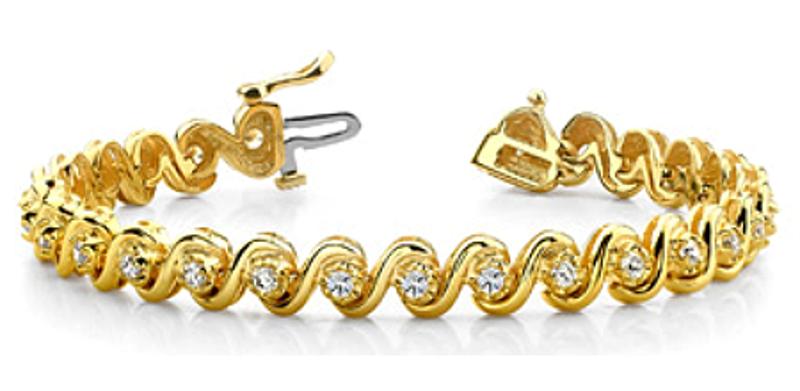 Picture of Classic Swirl Design Diamond Tennis Bracelet