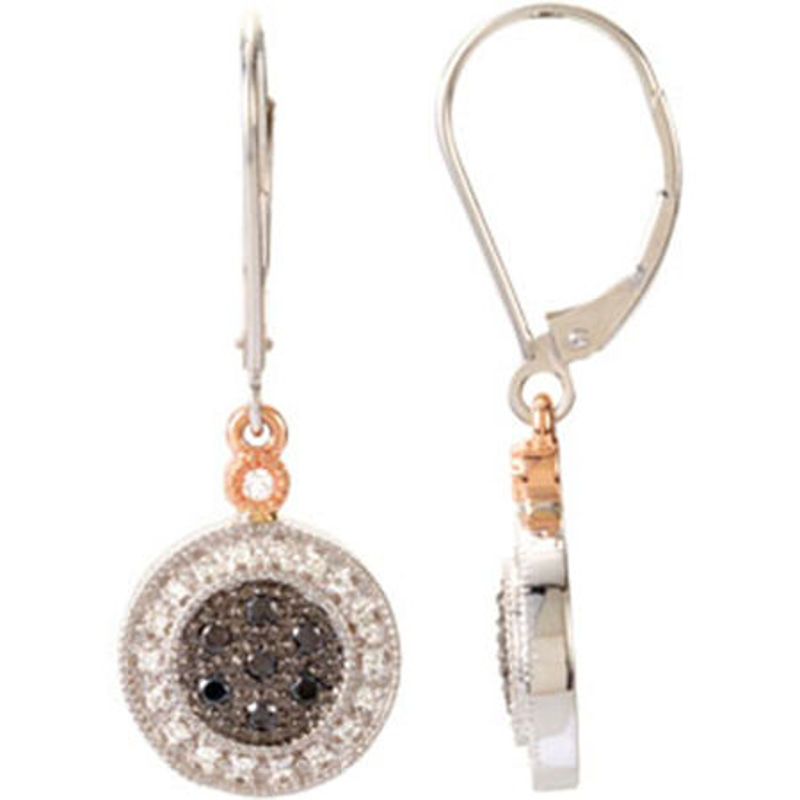 Picture of 14kt white and rose gold diamond fashion earrings