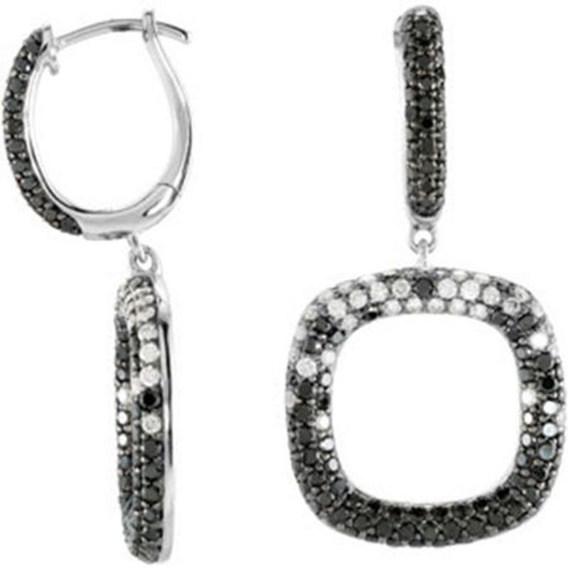 Picture of 14kt white gold black and white diamond fashion earrings