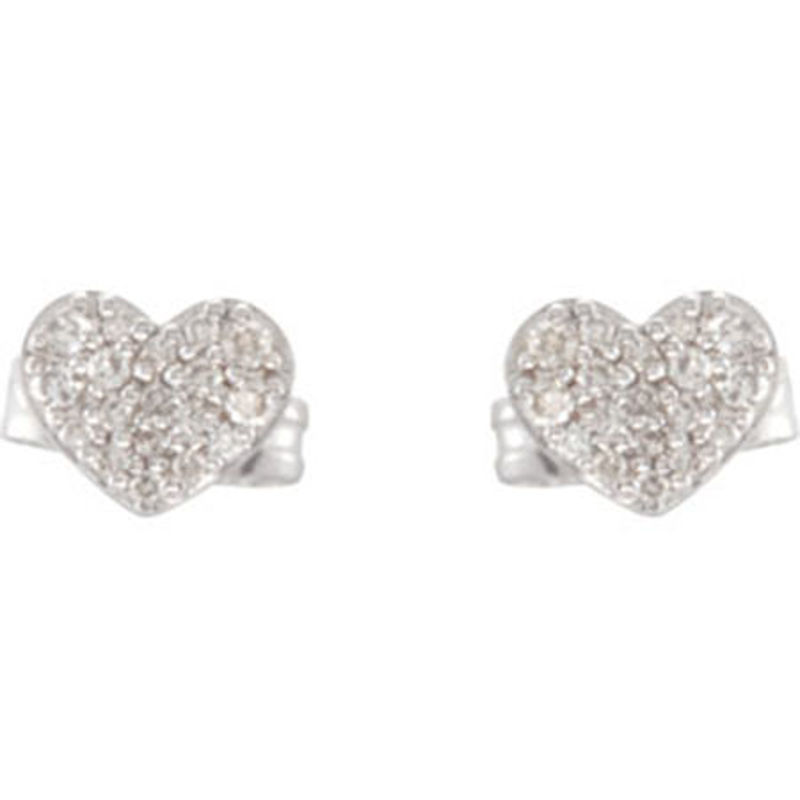Picture of 14kt white gold diamond heart earrings