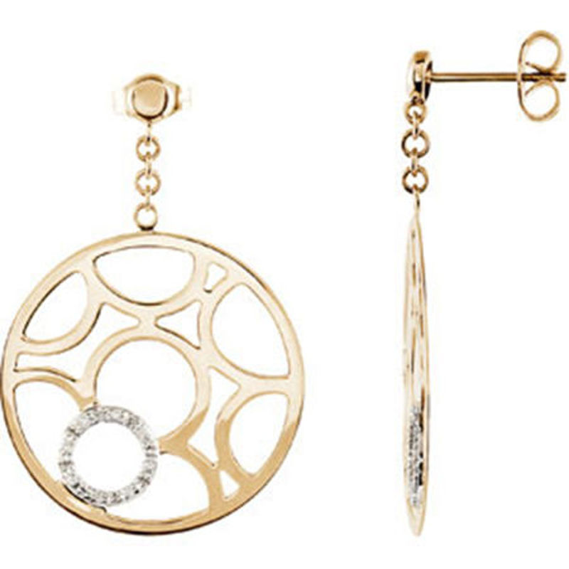 Picture of 14kt yellow and white gold diamond fashion earrings
