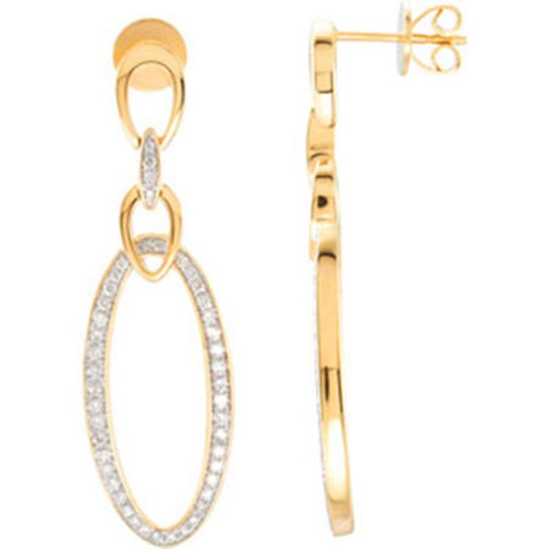 Picture of 14kt yellow gold diamond drop earrings