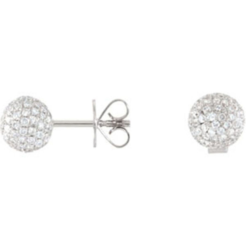 Picture of 18kt white gold diamond pave ball earrings