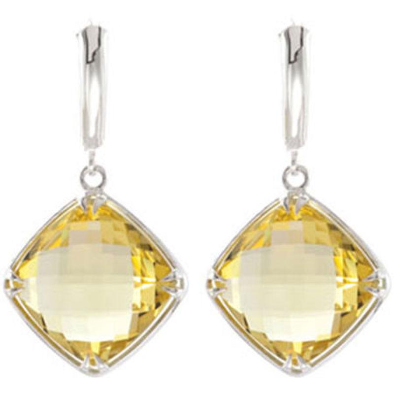 Picture of Genuine lemon quartz earrings in sterling silver