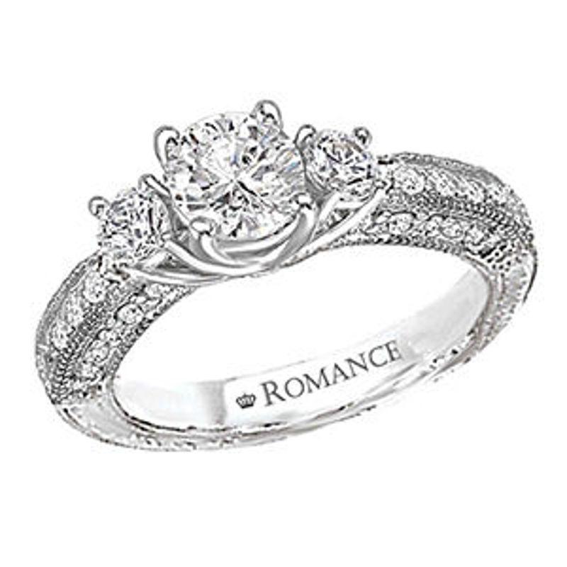Picture of 3-Stone Semi-Mount Diamond Ring   Diamond Engagement Rings