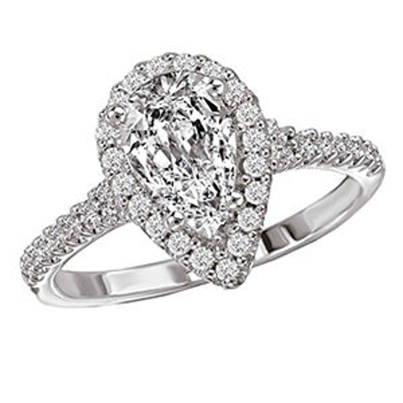 Picture of Pear Halo Semi-Mount Diamond Ring | Diamond Engagement Rings