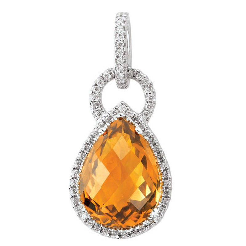 Picture of Ladies Citrine and Diamond Pendant