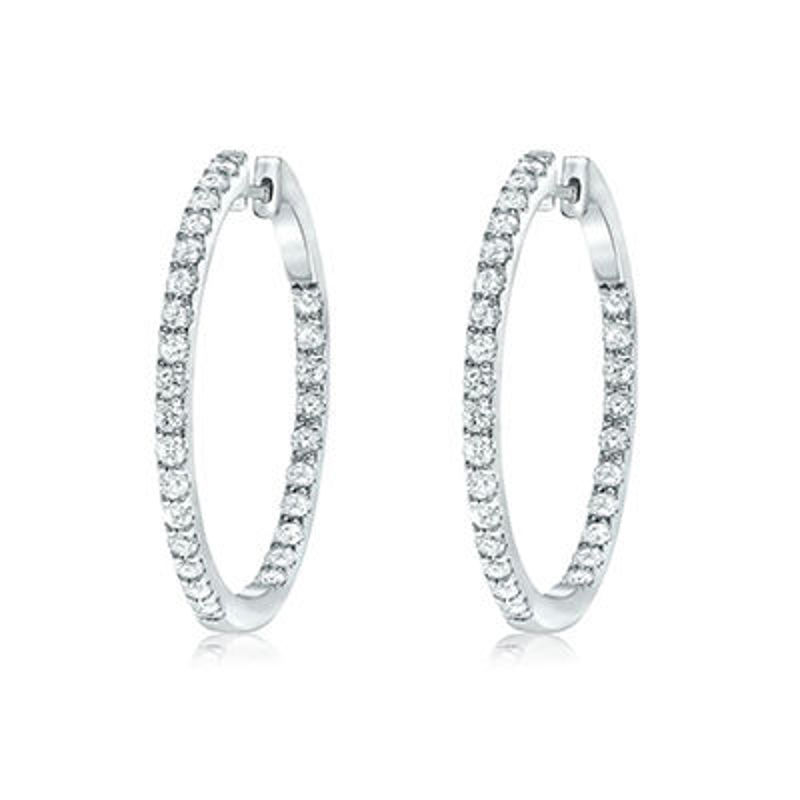 Picture of 14K White Gold Diamond Hoops set with 1.55 cttw