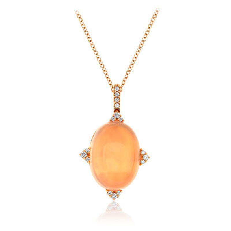 Picture of 18K Rose Gold Diamond & Rose Quartz Pendant and Chain