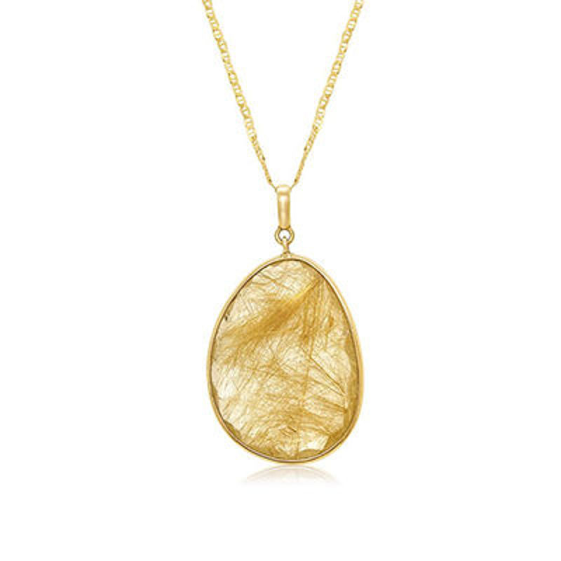 Picture of 14K Yellow Gold Pendant set with a 22ct Rutile Quartz