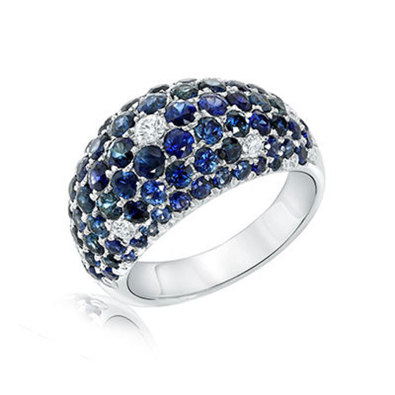 Picture of 18K White Gold Domed Style Sapphire & Diamond Ring