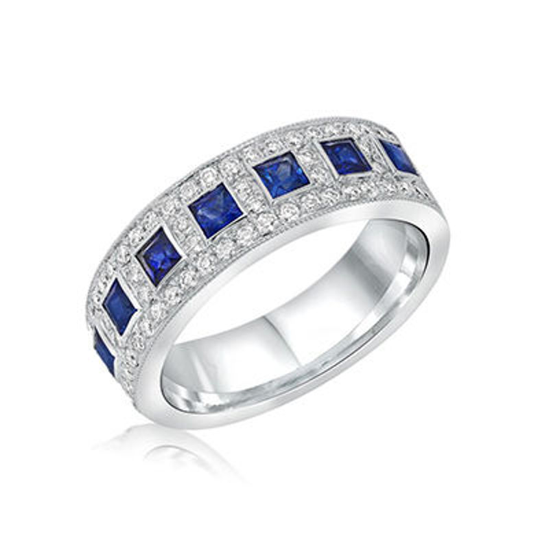 Picture of 18K White Gold Diamond & Sapphire Ring Set